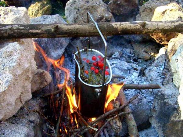Котел на огне