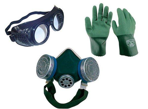 Очки, перчатки, респиратор