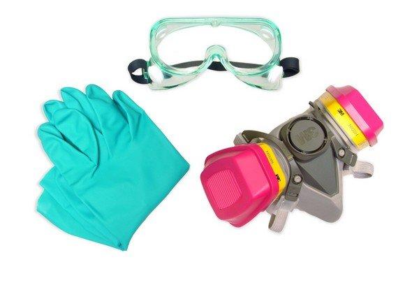 Перчатки, респиратор, очки